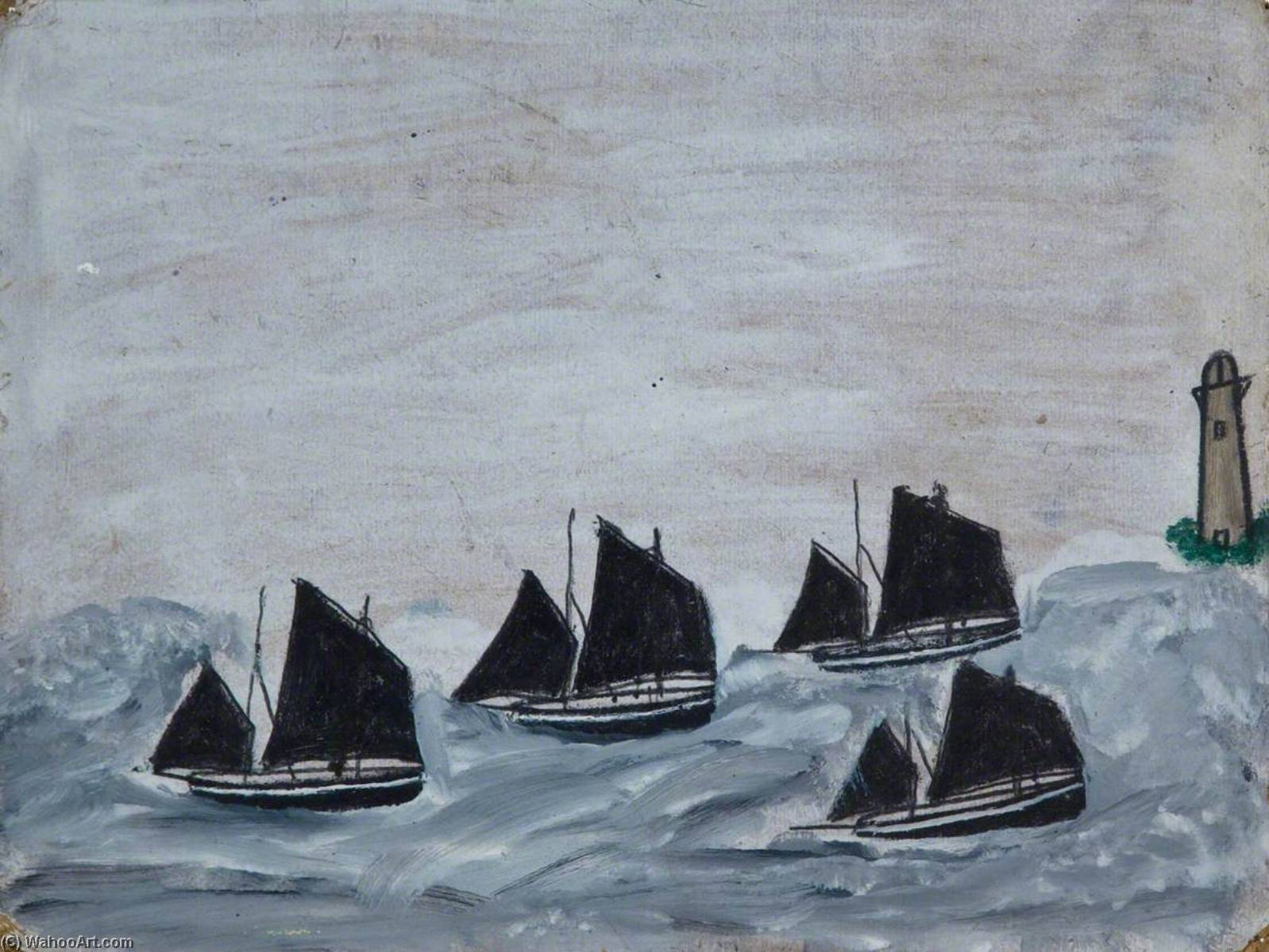 quatre embarcations  par de  une  phare  de Alfred Wallis (1855-1942, United Kingdom) | WahooArt.com