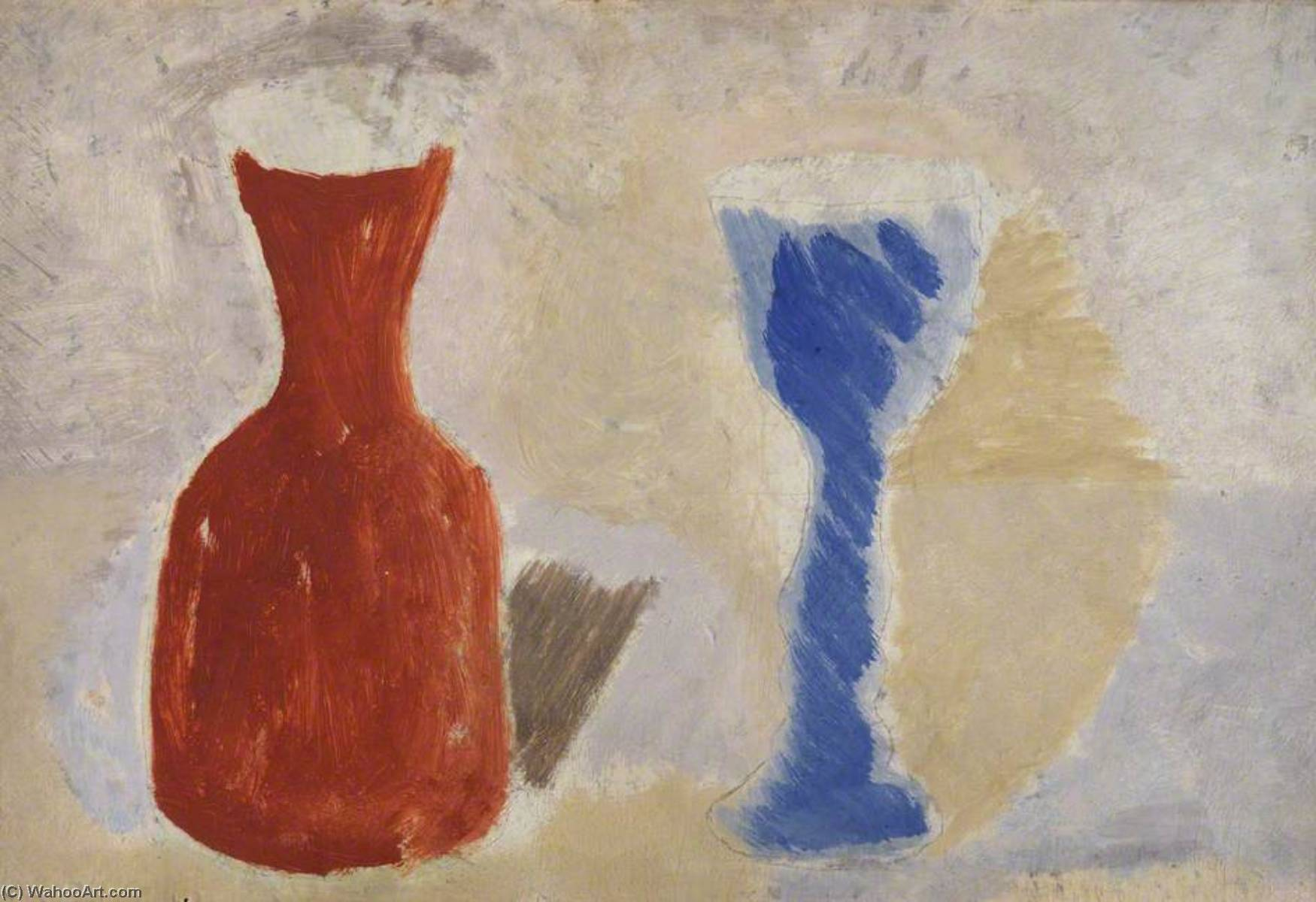 1925  pot  et  coupe , Huile de Ben Nicholson (1894-1982, United Kingdom)