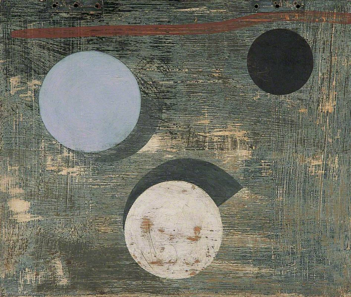 c . 1946–1947 ( 3 cercles ), 1947 de Ben Nicholson (1894-1982, United Kingdom) | Reproductions D'art Sur Toile | WahooArt.com