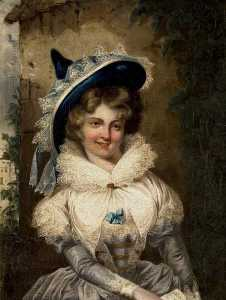 Matthew William Peters - portrait d une dame avec un grand pointé Chapeau