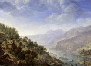 Herman Saftleven The Younger - vue sur au  Rhin