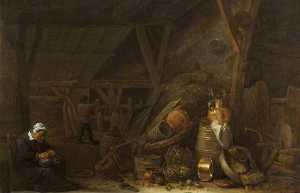 Herman Saftleven The Younger - Une Grange avec une nature morte de ustensiles de cuisine et un sleeping cook,