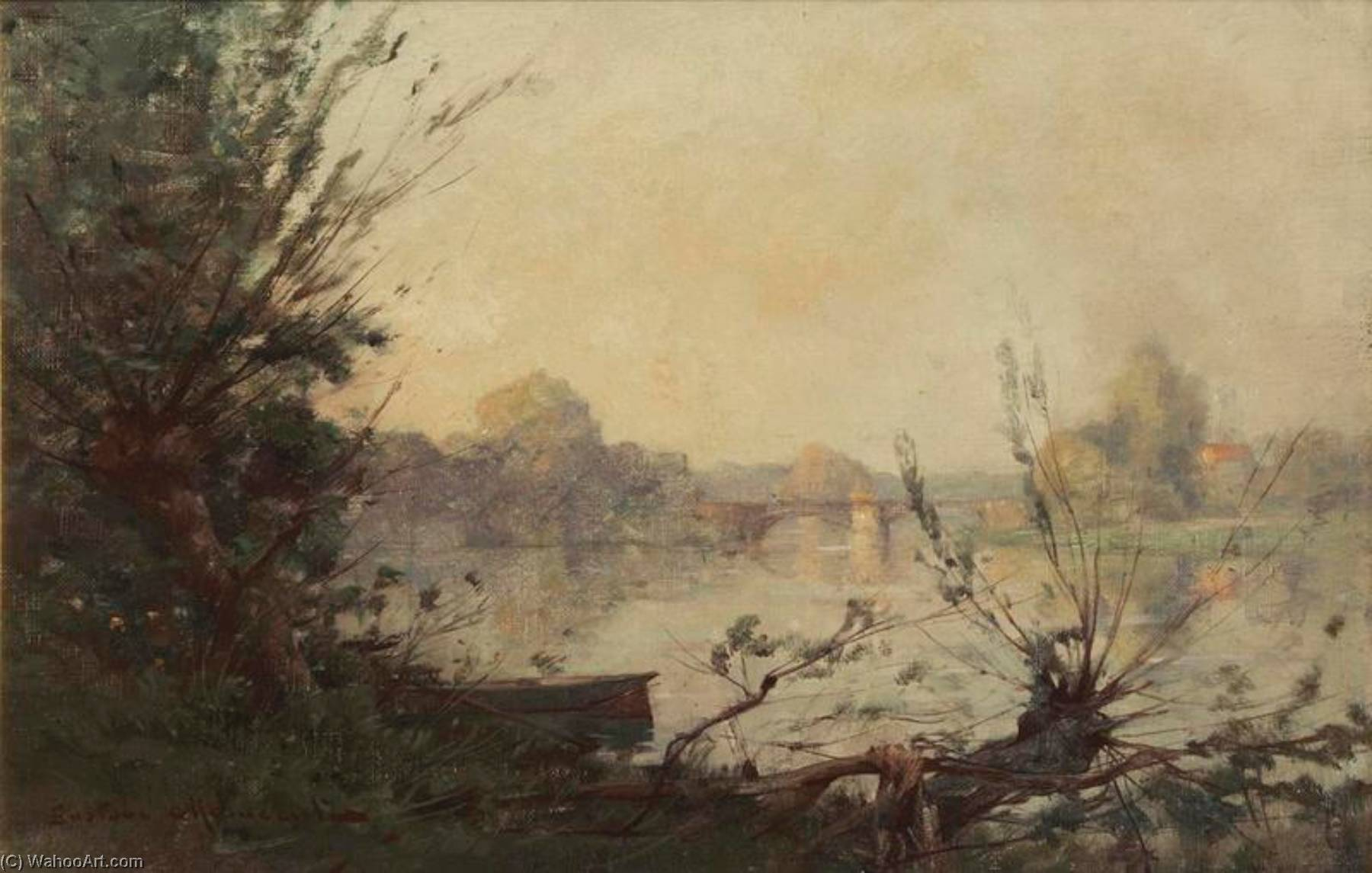 bords de seine, Huile de Gustave Maincent (1848-1897)