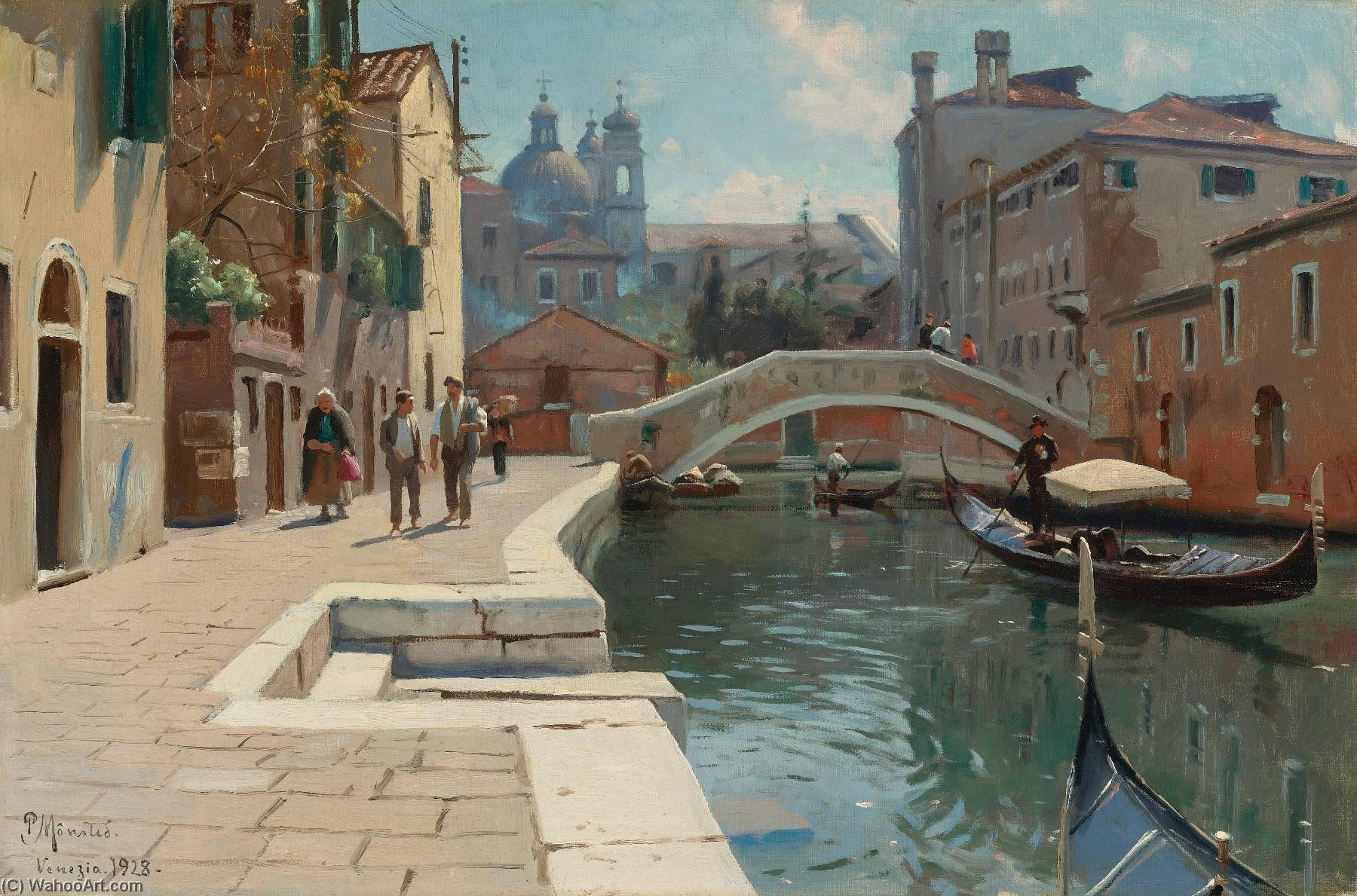Canal à Venise de Peder Mork Monsted (1859-1941, Denmark) | Reproductions De Qualité Musée Peder Mork Monsted | WahooArt.com