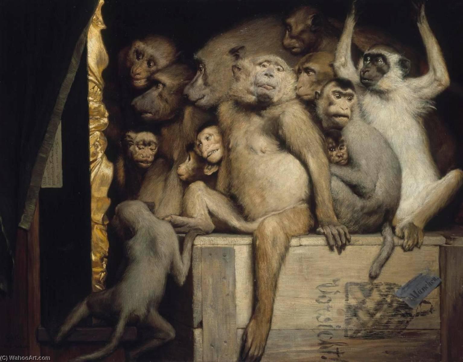 Singes en tant que juges de lart, 1889 de Gabriel Cornelius Ritter Von Max | Reproductions D'œuvres D'art Gabriel Cornelius Ritter Von Max | WahooArt.com