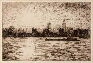 Edward S Hewitt - l east river Coucher du soleil Construire la Empire