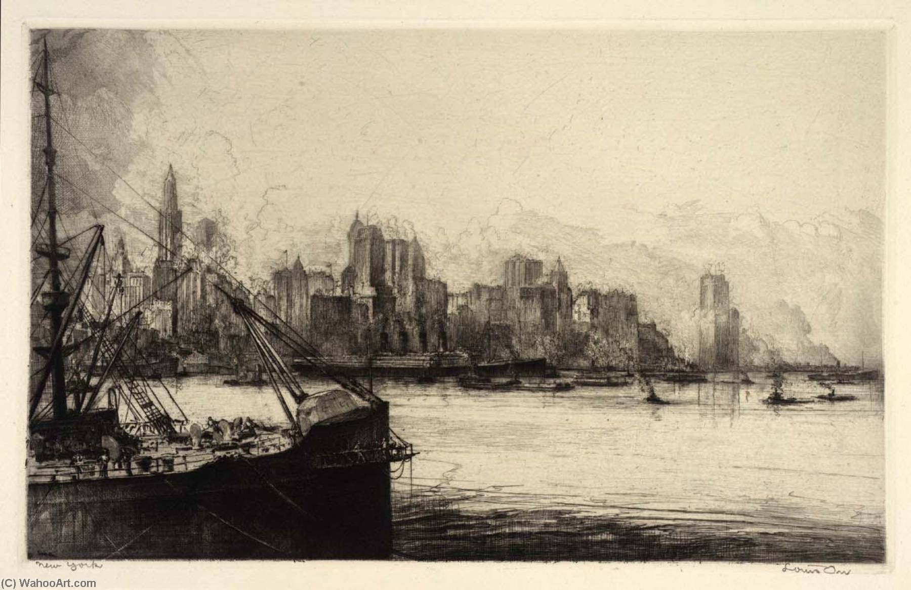 (Ports de lamérique , portefeuille ) new york, eauforte de Louis Orr
