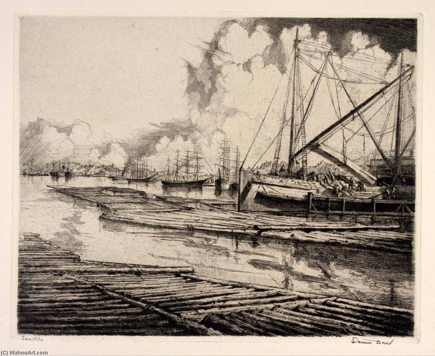(Ports de lamérique , portefeuille ) Seattle, eauforte de Louis Orr