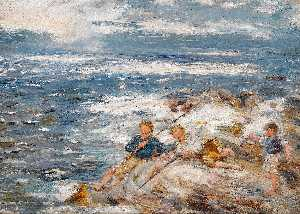 William Mctaggart - DE PECHE tirées  la  rochers