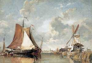 Edward William Cooke - scie hollandaise Mill et Expédition sur zuyder zee