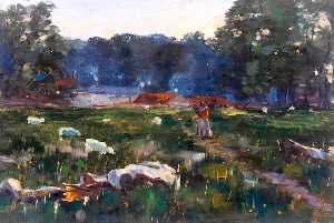 William Henry Charlton - terrain avec mouton