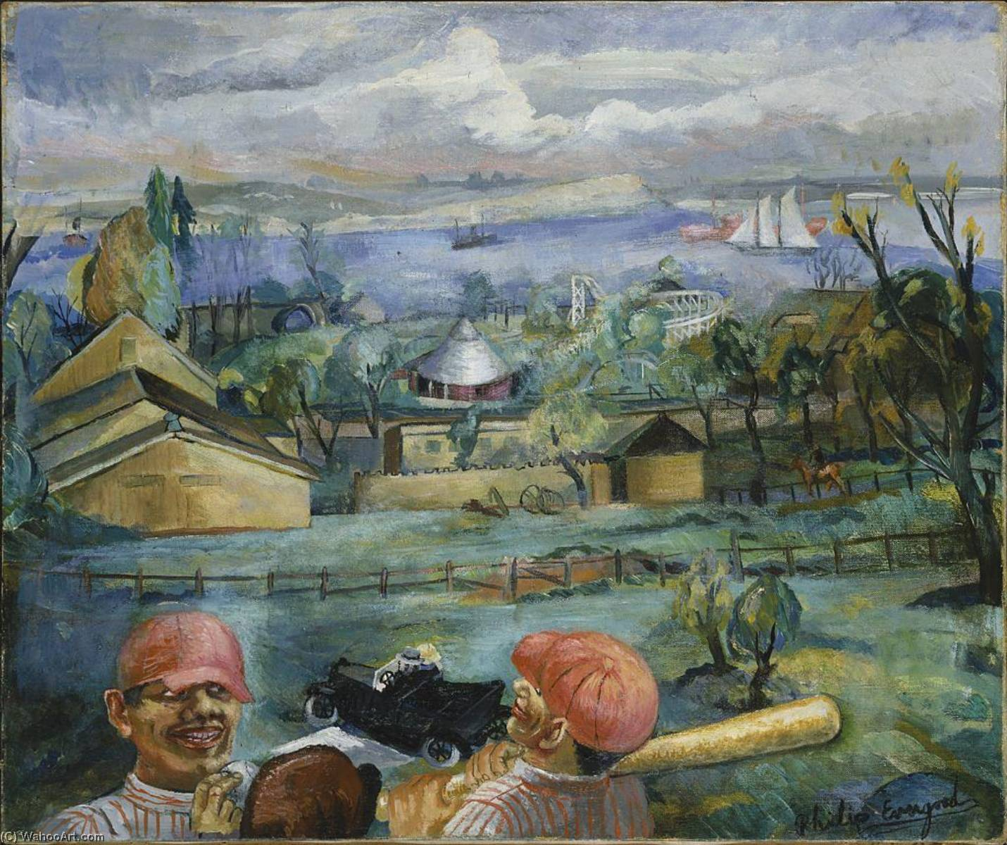 early youth de babe ruth ( ancien nord Plage parc dattractions ), huile sur toile de Philip Evergood (1901-1973)