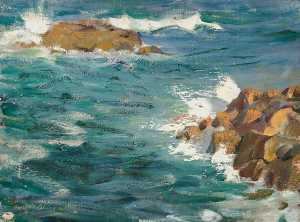 Henry Young Alison - paysage marin avec rocks