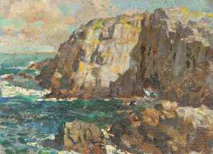 Henry Young Alison - paysage marin avec  falaises