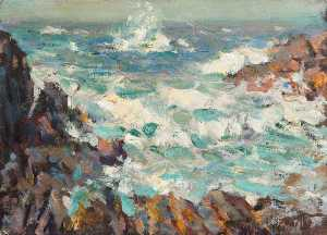 Henry Young Alison - paysage marin avec  bcassant  ondes