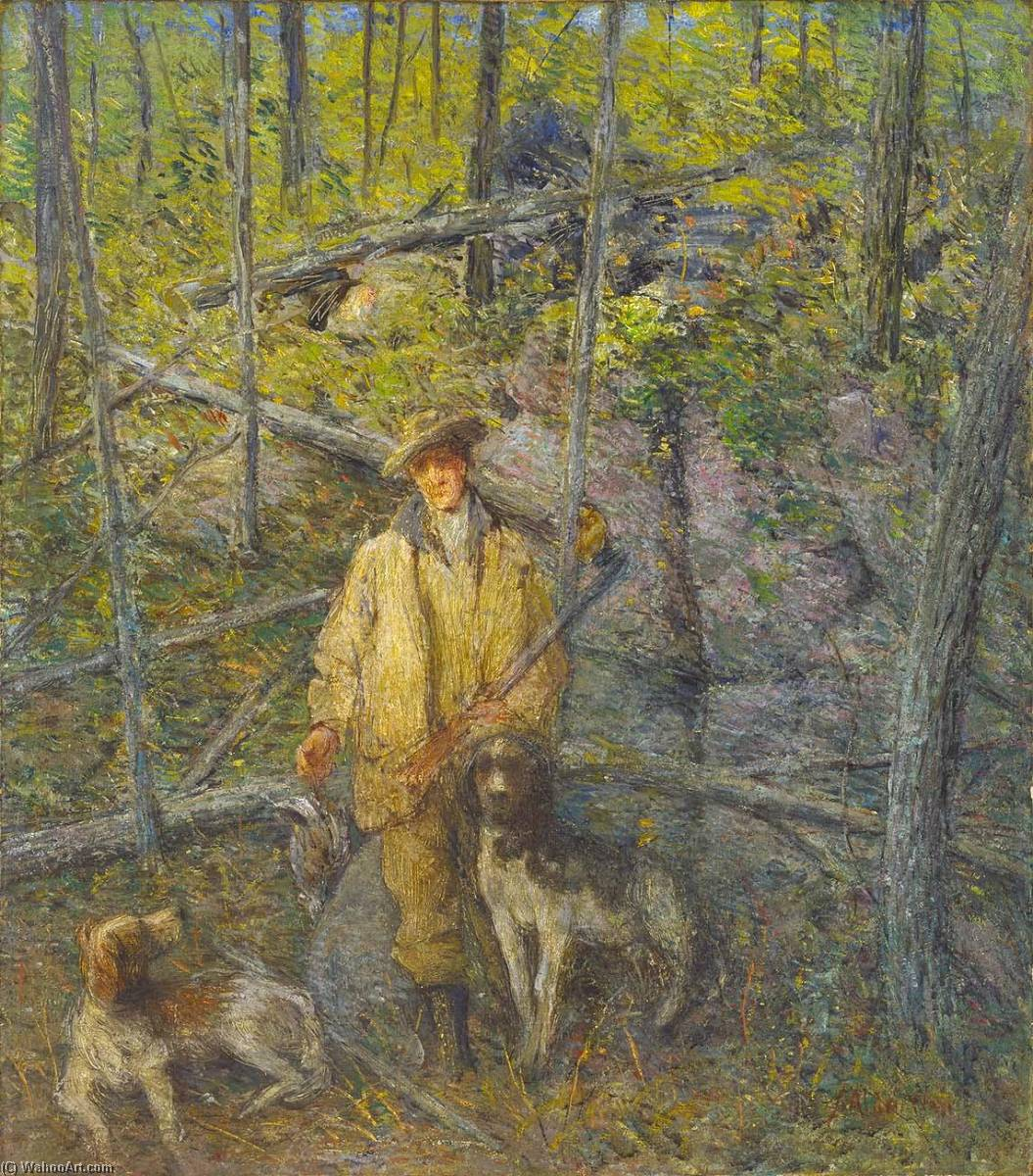 Hunter et chiens, 1912 de Julian Alden Weir (1852-1919, United States) | Reproductions D'art Julian Alden Weir | WahooArt.com