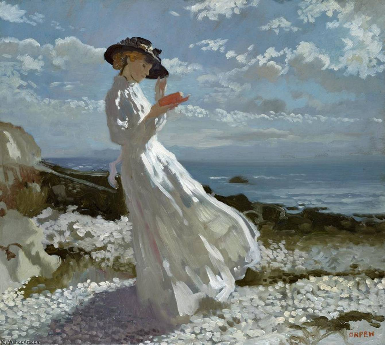 Grâce à la lecture de Howth Bay, 1900 de William Newenham Montague Orpen (1878-1931, Ireland)