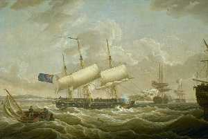 Robert Salmon - Une frigate coming to ancrer dans le Mersey