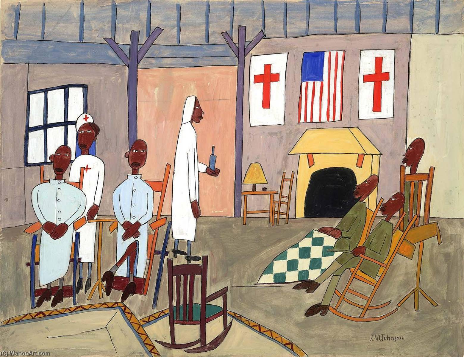 convalescents from somewhere, 1942 de William Henry Johnson (1901-1970, United States) |  | WahooArt.com