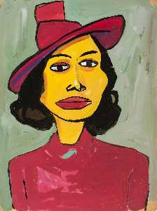 William Henry Johnson - femme dans une rouge  chapeau