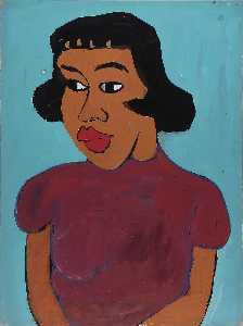 William Henry Johnson - femme dans une marron  chemisier