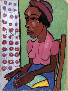 William Henry Johnson - Femme assise dans  rose  chemisier