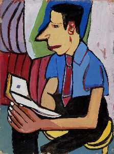 William Henry Johnson - Homme assis avec  livre