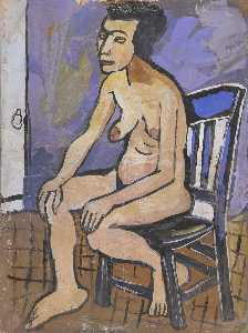 William Henry Johnson - assis nu féminin dans  chaise