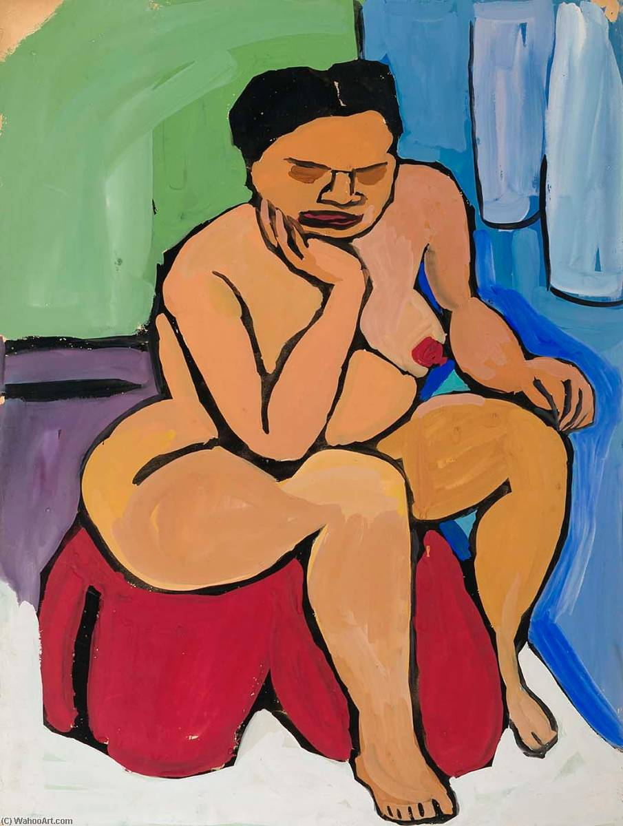 assis nu féminin sur  rouge  draper , 1940 de William Henry Johnson (1901-1970, United States) |  | WahooArt.com