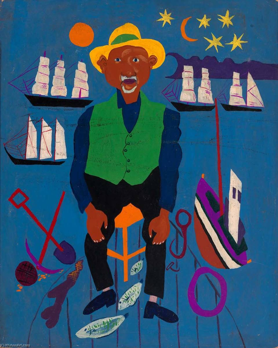 Achat Reproductions De Qualité Musée | la memoire Portrait  danois  pêcheur , 1945 de William Henry Johnson (1901-1970, United States) | WahooArt.com