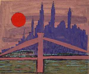 William Henry Johnson - Horizon de New York au  nuit