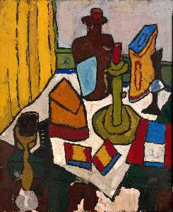 William Henry Johnson - Nature morte avec chandelier et  cruche