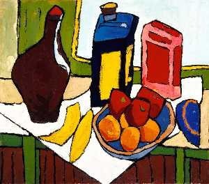 William Henry Johnson - nature morte fruits bouteille