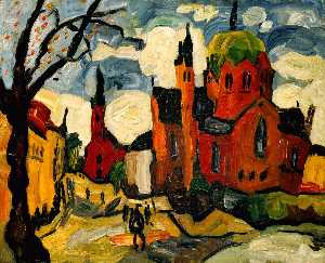 William Henry Johnson - une vue down akersgate , Oslo