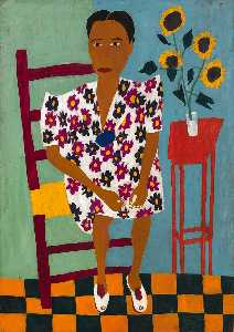 William Henry Johnson - Portrait avec  HELIANTHES