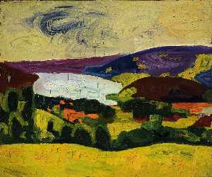 William Henry Johnson - Jaunit terrain  et  lac