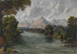 William Robert Houghton - avec la rivière montagnes  dans  au  loin  Occidental  Ghâts