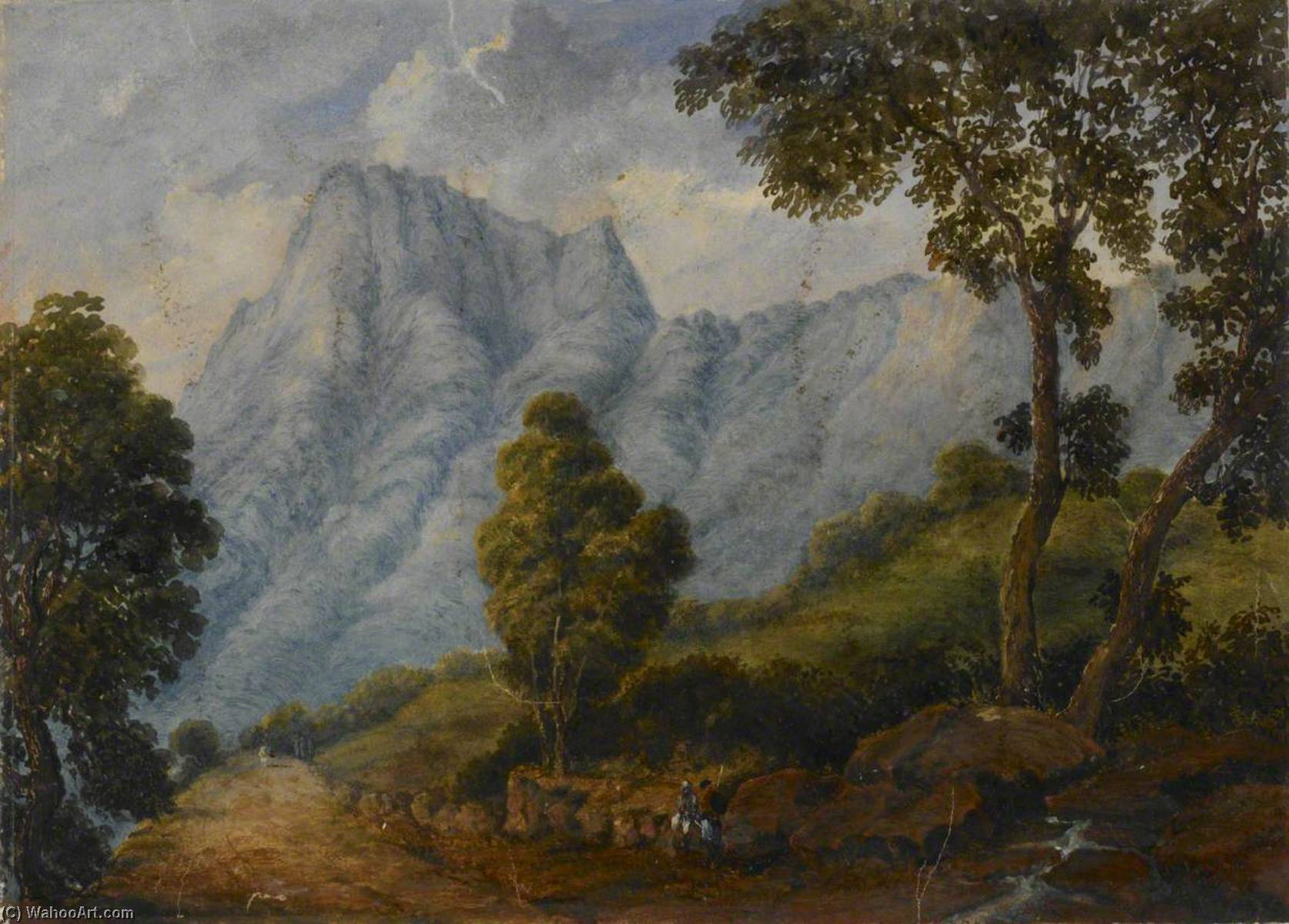 mont route  dans  rocheux  Paysage  Occidental  Ghâts , Huile de William Robert Houghton