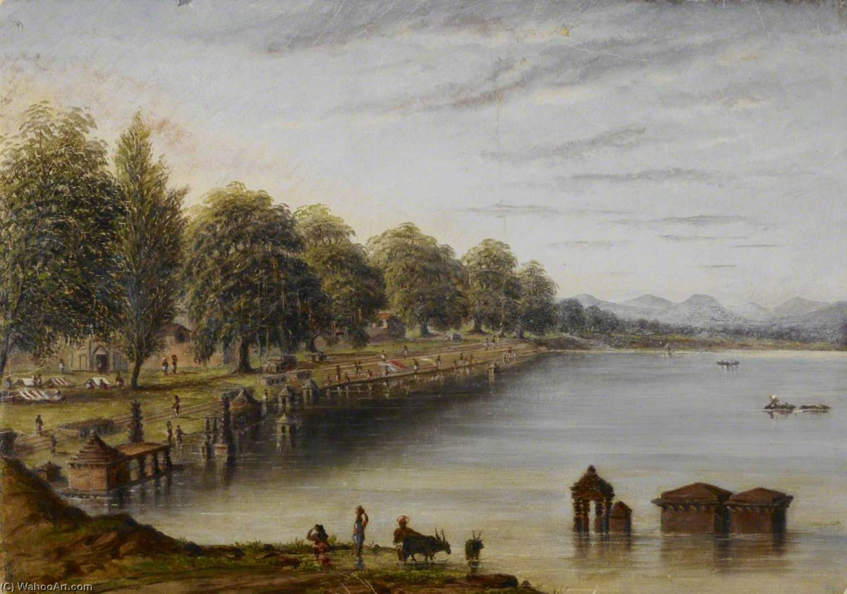 Achat Copie Tableau : River et Ghâts au Kolhapur, 1877 de William Robert Houghton | WahooArt.com