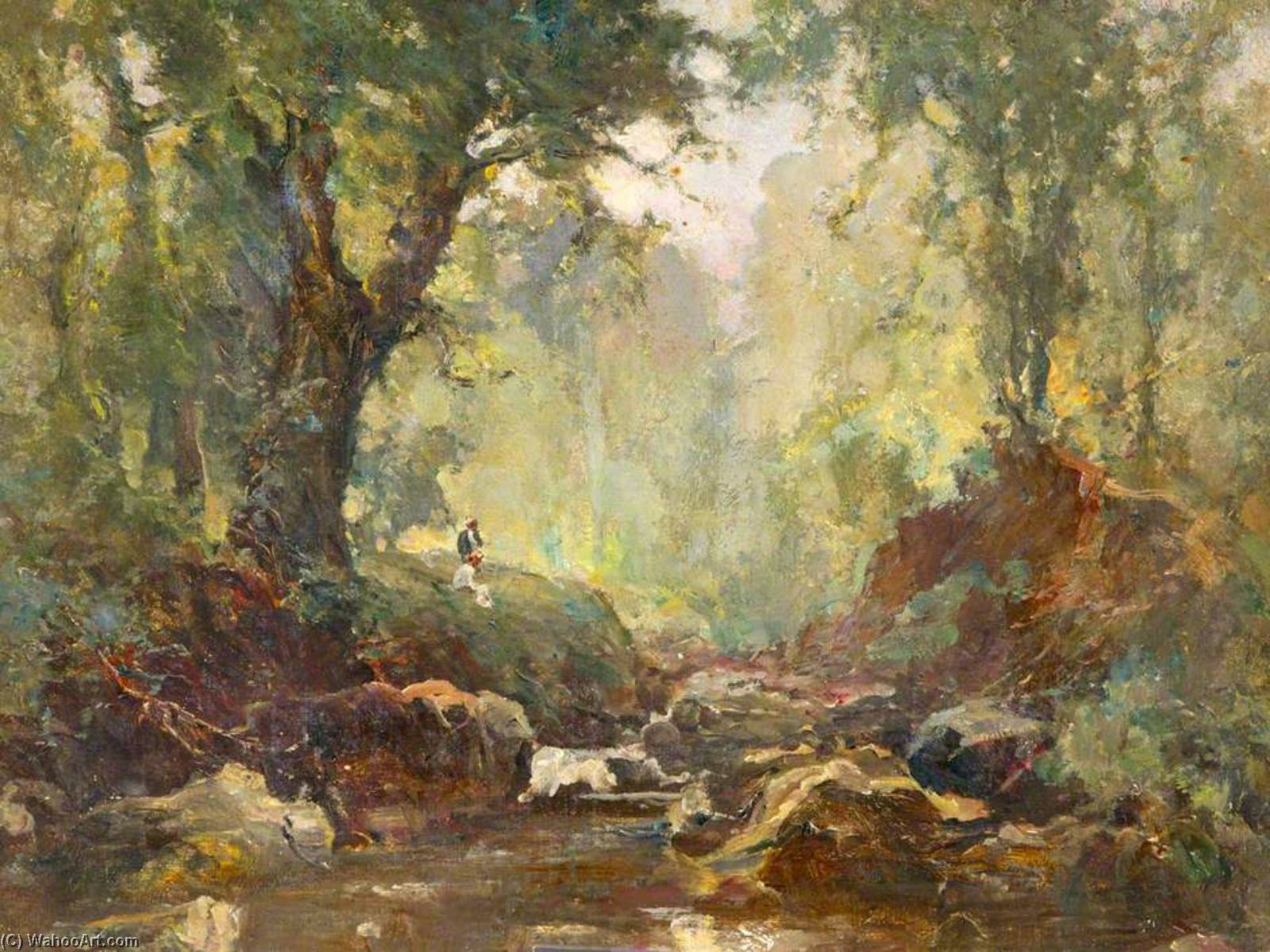 paysage rivière ( peut-être bryansford ou crawfordsburn ) de William Gibbes Mackenzie | Reproductions D'art De Musée William Gibbes Mackenzie | WahooArt.com