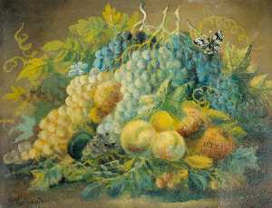 Alfred Worthington - nature morte fruits et  ce papillon