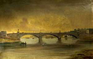 Alfred Worthington - trefechan bridge après reconstitution  1888