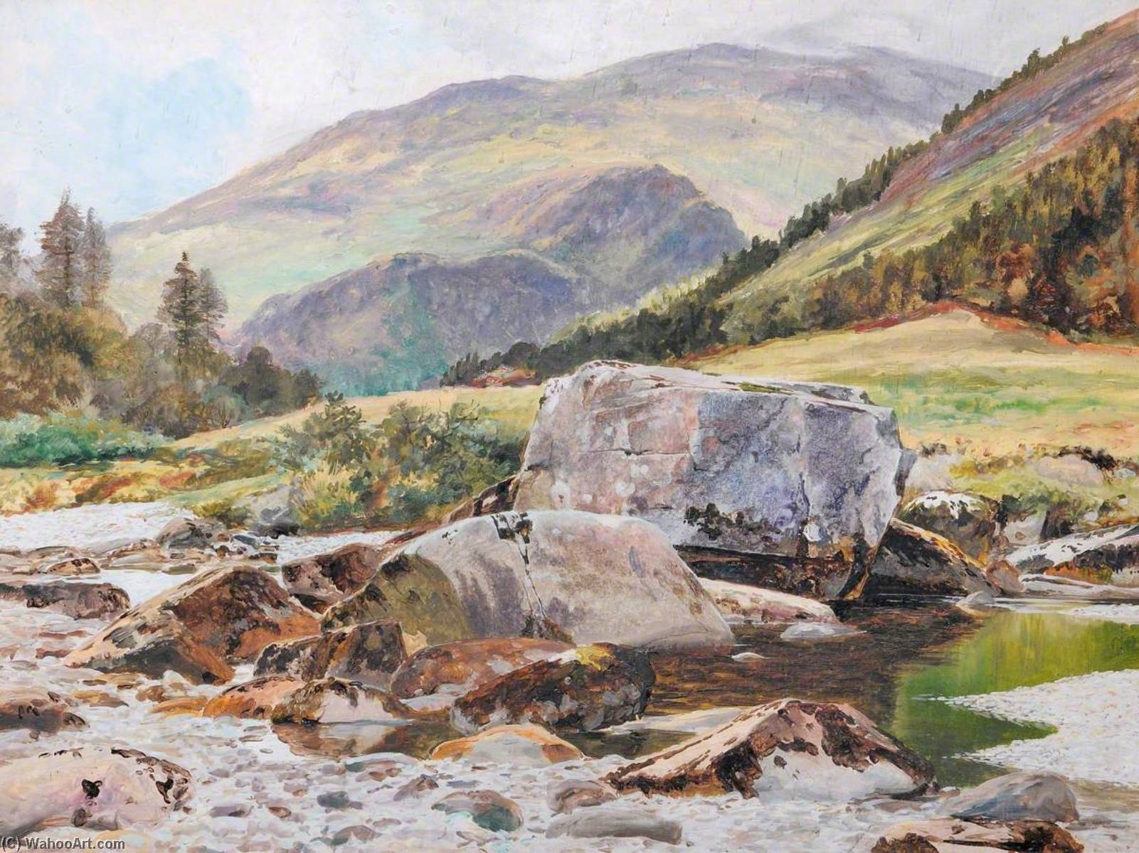 Rocks sur le glaslyn Rivière, 1883 de Frederick William Hayes | Copie Tableau | WahooArt.com