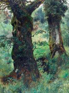 Frederick William Hayes - deux arbres Beddgelert Villageoise