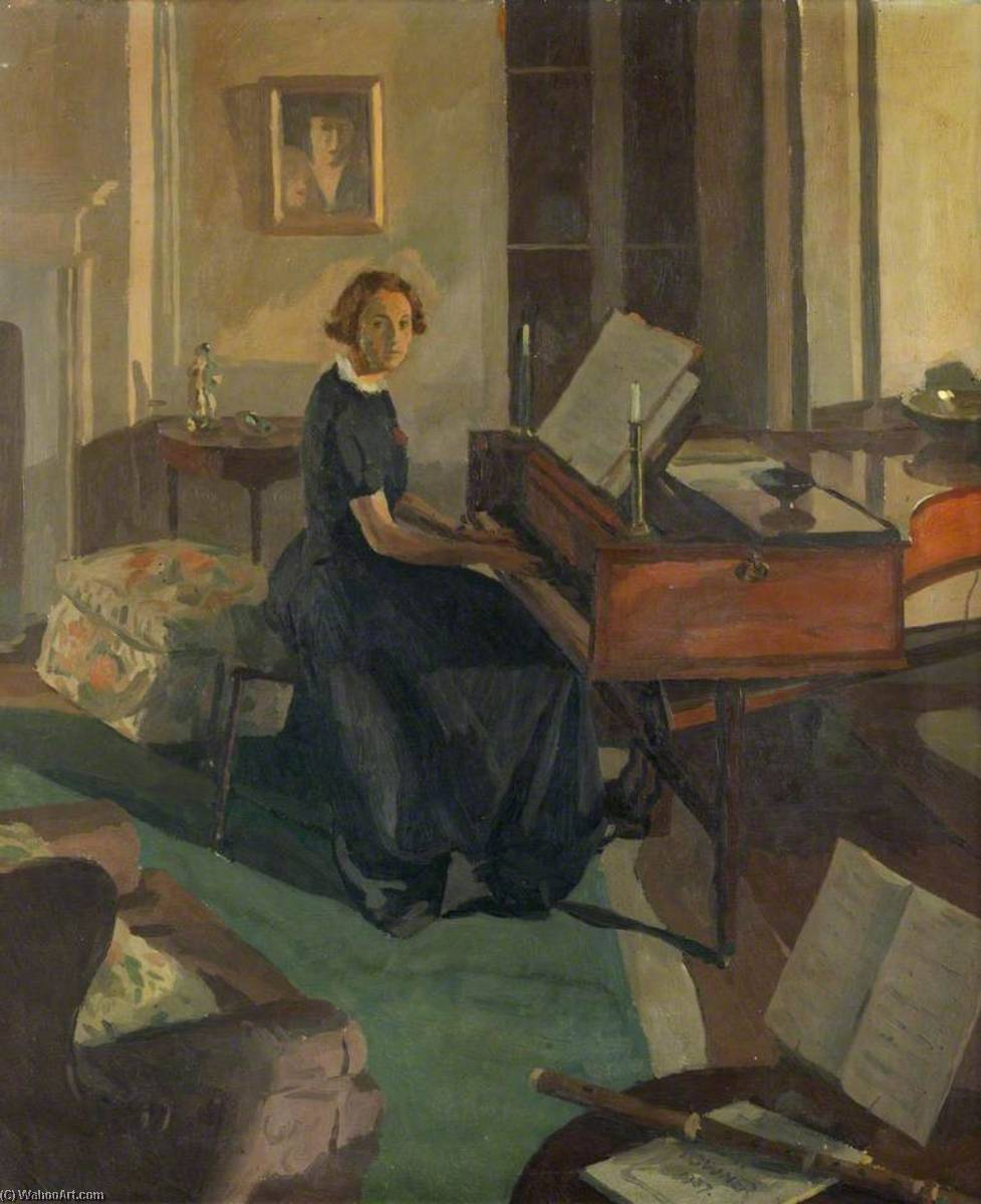 alice ashley à un Leçon de piano, 1936 de Donald Chisholm Towner | WahooArt.com