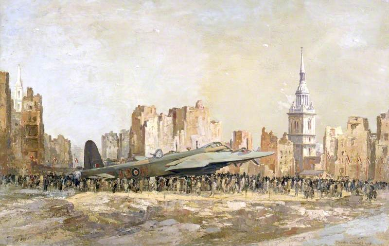 Stirling Bombardier , bow church , Londres, huile sur toile de Charles Ernest Cundall