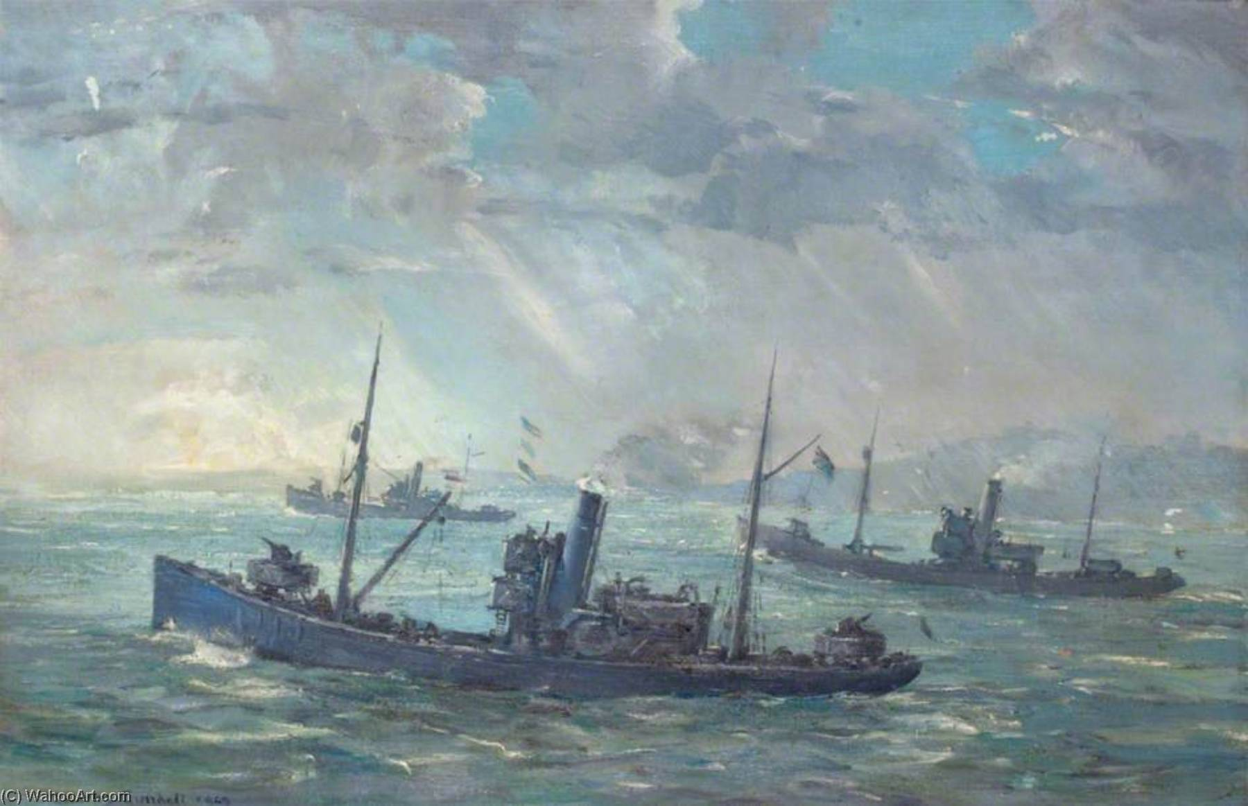 Minesweepers, huile sur toile de Charles Ernest Cundall