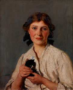 Frederick William Elwell - fille avec un petit chat