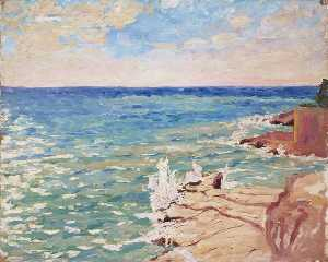 Winston Spencer Churchill - scène coast près de cannes