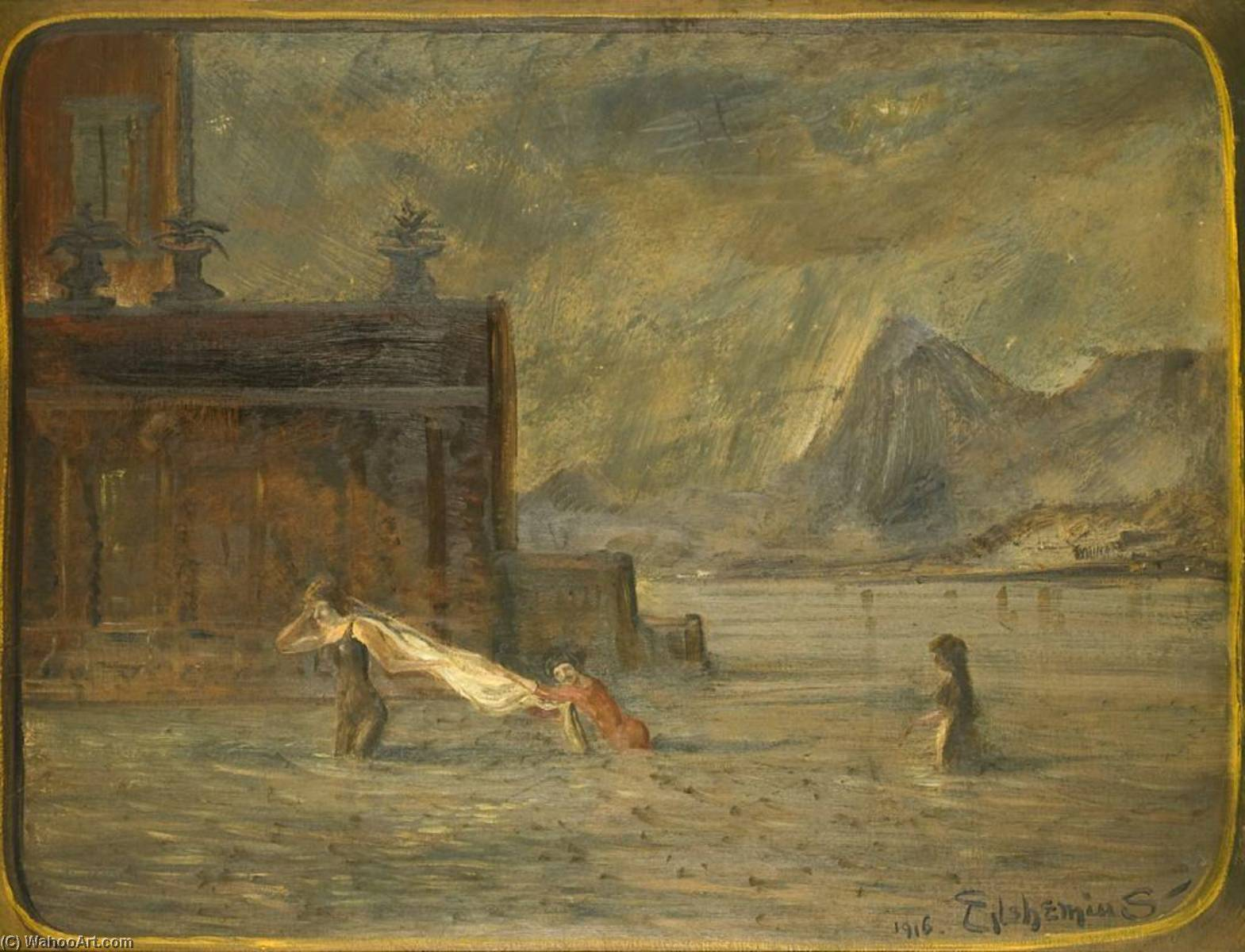 Achat Reproductions D'art Sur Toile : barbotage à travers  eau , 1916 de Louis Michel Eilshemius (1864-1941, United States) | WahooArt.com